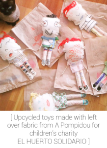 Using leftover fabric scraps from A Pompidou to make toys.